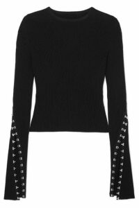 Alexander McQueen - Embellished Ribbed-knit Sweater - Black