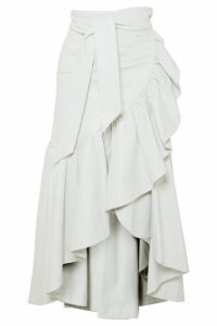 Rodarte - Ruffled Leather Skirt - White