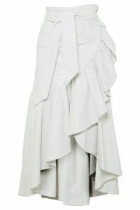Rodarte - Ruffled Leather Skirt - White