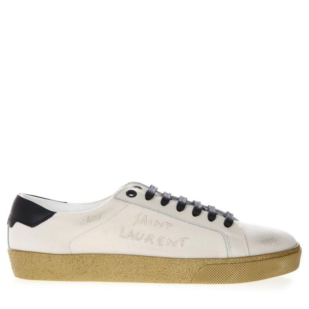 Saint Laurent Court Classic Sl/06 In Cream Canvas Sneakers