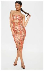 Orange Scuba Snake Print Cut Out Bandeau Midi Dress, Orange