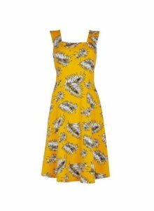 Womens **Tall Yellow Palm Print Dress- Yellow, Yellow