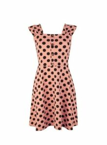 Womens Tan Spot Print Ruched Fit And Flare Dress- Brown, Brown
