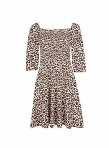 Womens Animal Print Gypsy Cotton Blend Dress- Brown, Brown