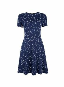 Womens Navy Short Sleeve Eiffel Tower Print Fit And Flare Dress- Black, Black