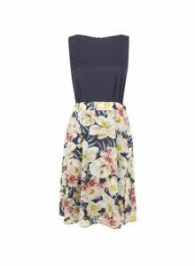 Womens **Billie & Blossom Navy Floral Printed Dress- Blue, Blue