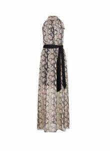 Womens Multi Colour Halter Tie Neck Snake Print Maxi Dress- Brown, Brown