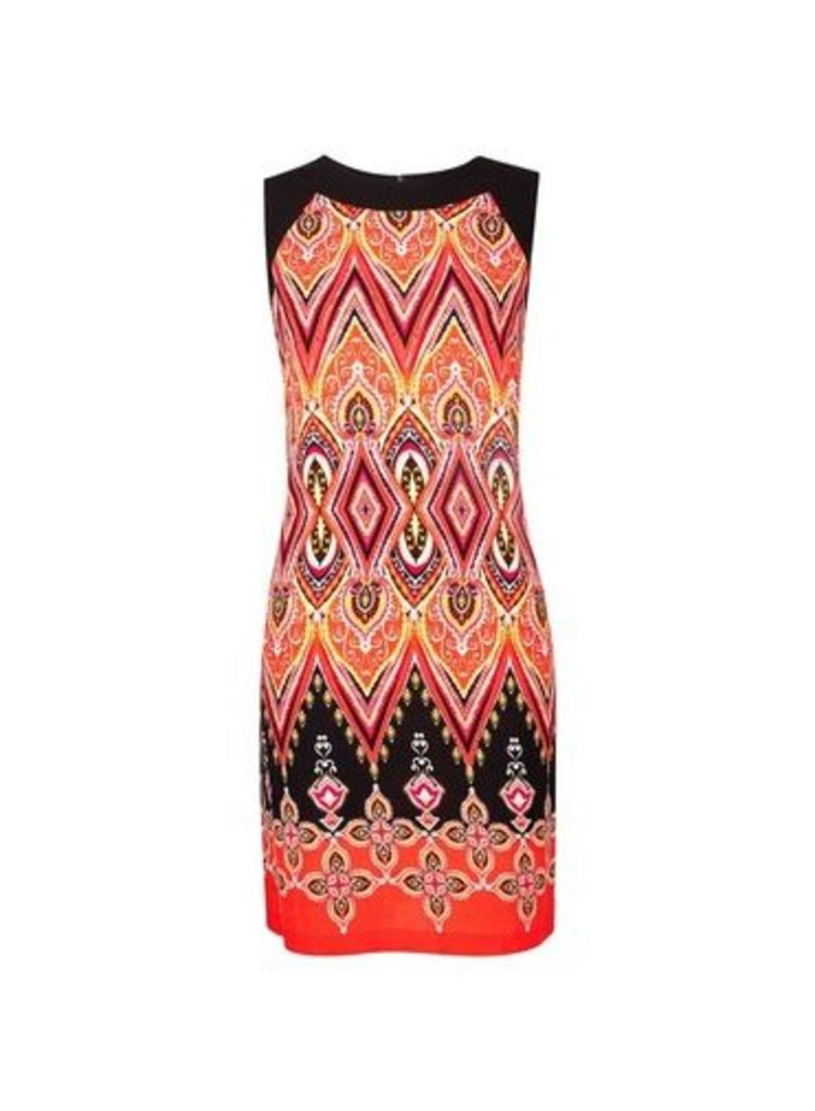 Womens **Billie & Blossom Petite Red Paisley Print Shift Dress- Red, Red