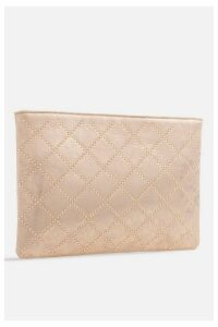 Womens **Studded Zipper Clutch Bag By Koko Couture - Gold, Gold