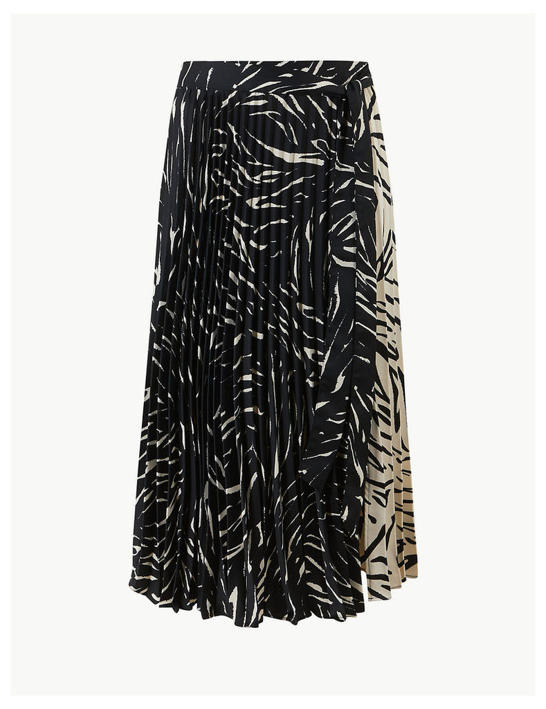 M&S Collection Animal Print Pleated Skirt