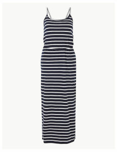 M&S Collection PETITE Pure Cotton Striped Waisted Maxi Dress