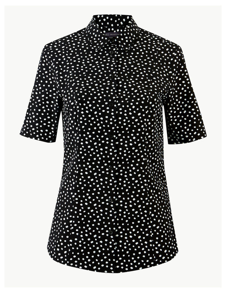 M&S Collection Polka Dot Short Sleeve Shirt