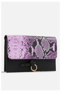 Womens **Faux Snakeskin Foldover Bag By Koko Couture - Purple, Purple