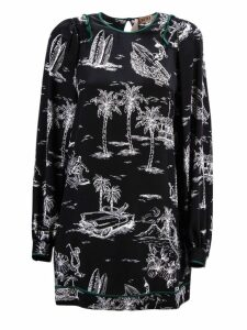 N.21 Black Island Print Silk Dress