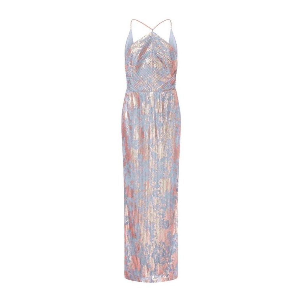 Adrianna Papell Pleated Foil Dress