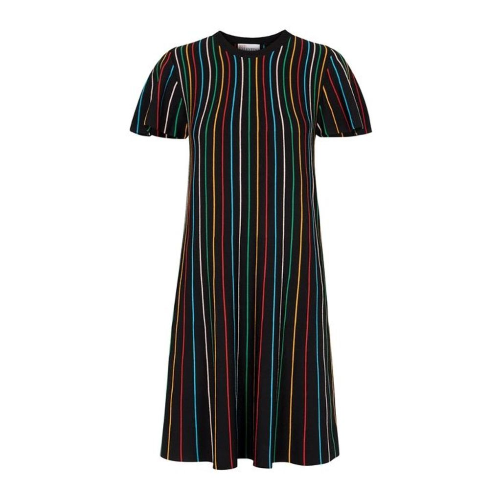 RED Valentino Black Striped Stretch-knit Dress