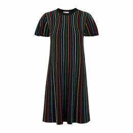RED Valentino Black Striped Stretch-knit Dress