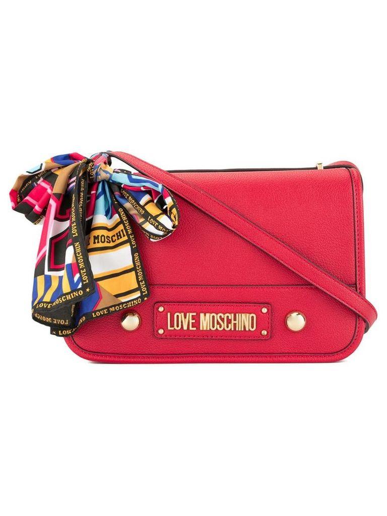 Love Moschino logo plaque shoulder bag - Red