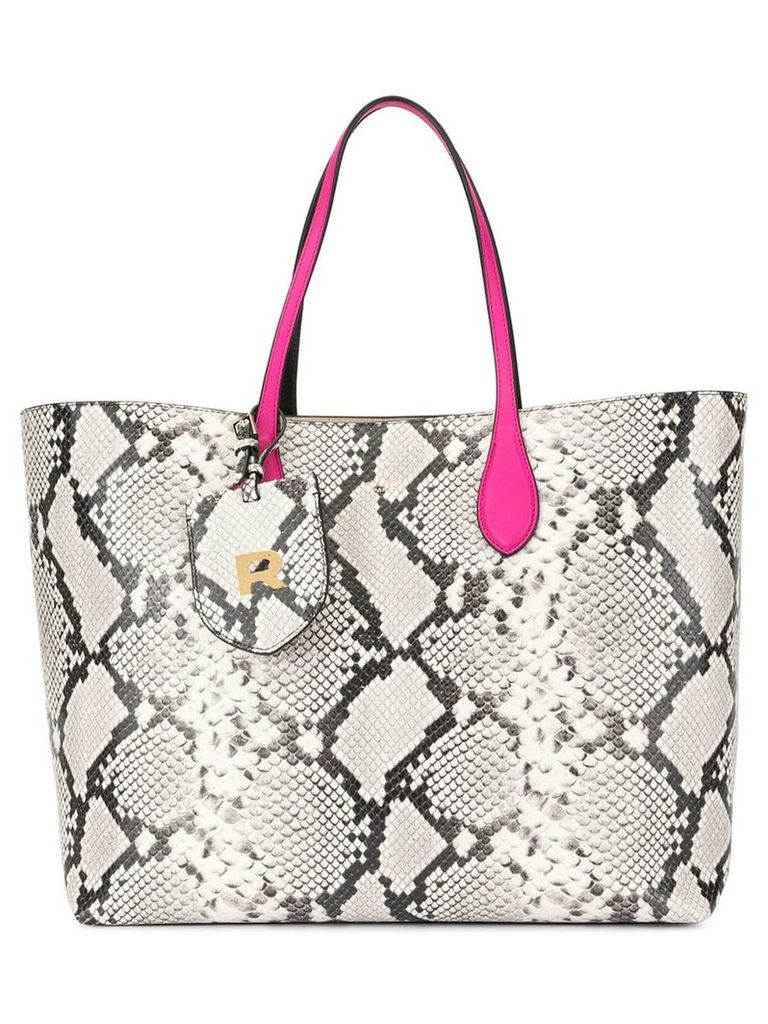Rochas snakeskin-effect tote bag - White