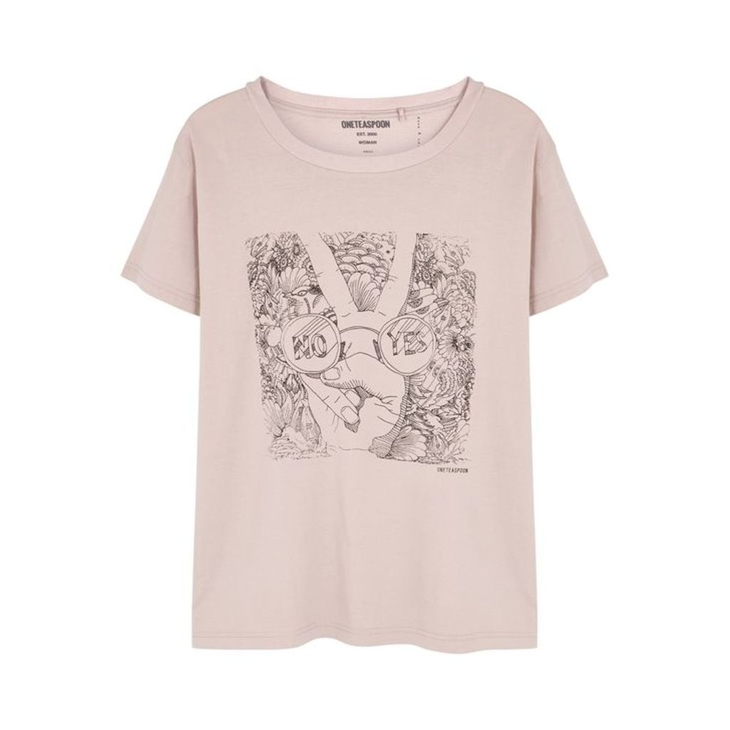 Oneteaspoon Yes No Artist Printed Cotton T-shirt