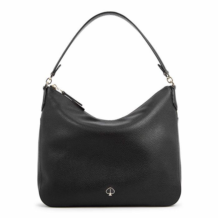 Kate Spade New York Polly Medium Black Leather Shoulder Bag