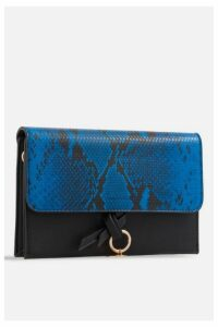 Womens **Faux Snakeskin Foldover Bag By Koko Couture - Royal Blue, Royal Blue