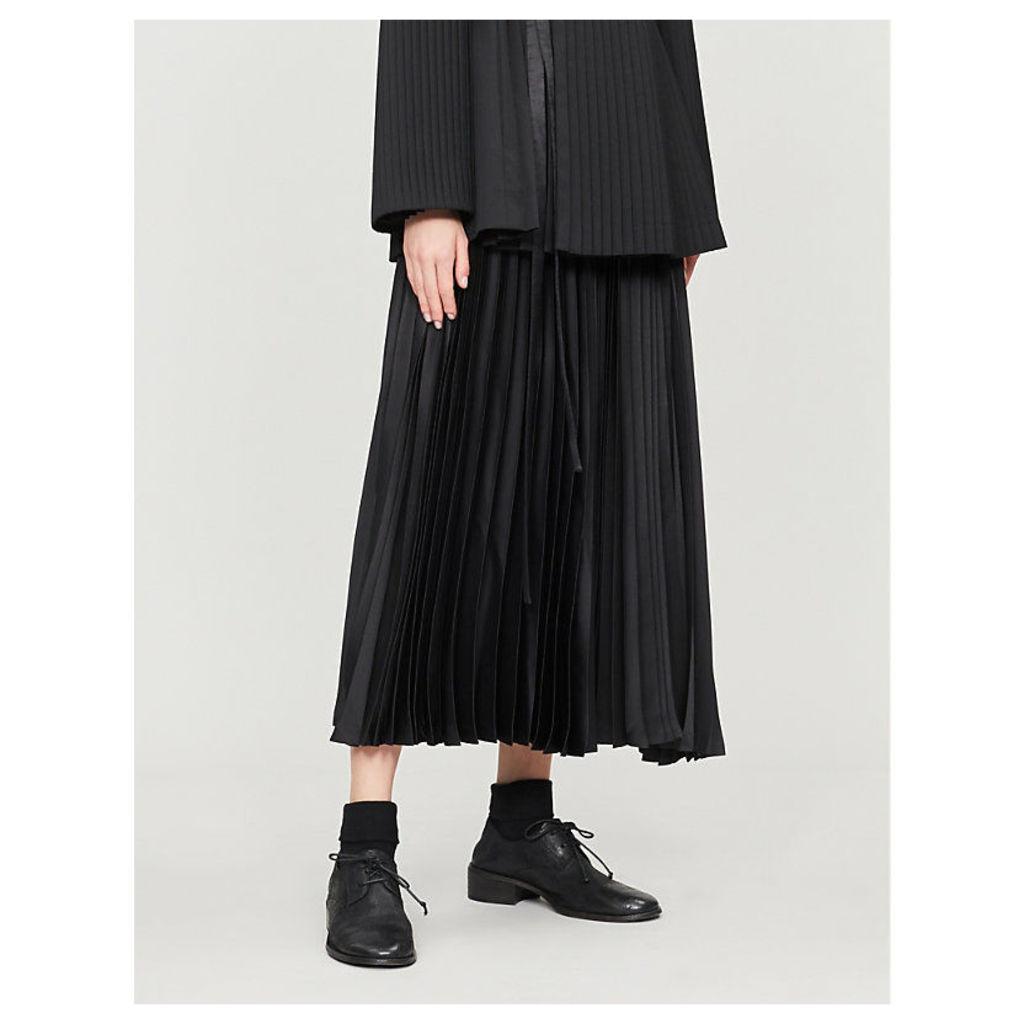 High-waist panelled pleated wool midi skirt