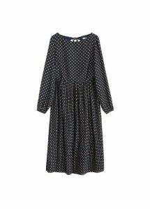 Polka-dot pleated dress