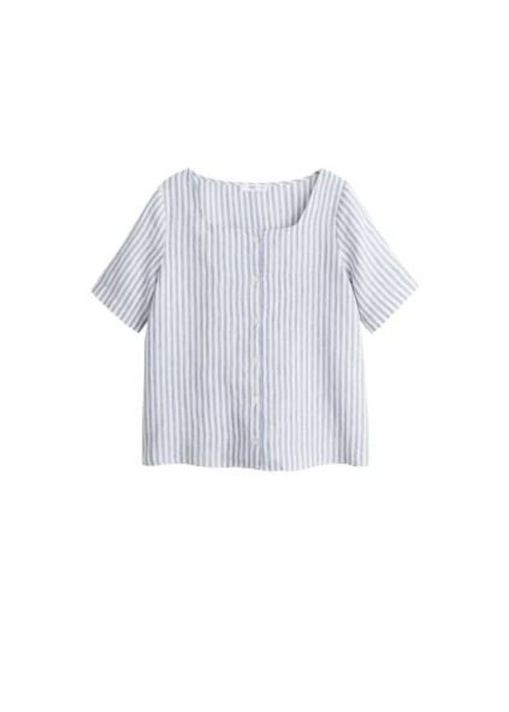 Button linen-blend blouse