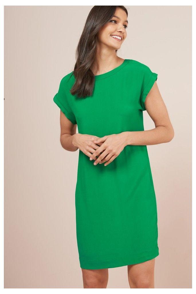 Womens Next Green Woven Boxy T-Shirt Dress -  Green