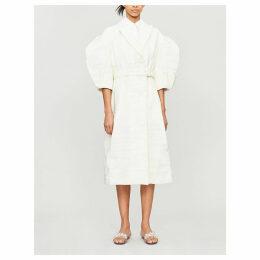 Puffed-sleeve crepe coat