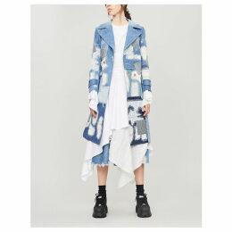Lace patchwork denim coat