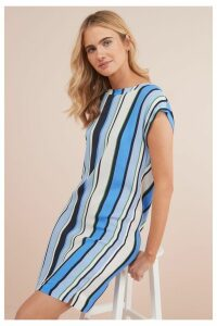 Womens Next Blue Stripe Woven Boxy T-Shirt Dress -  Blue