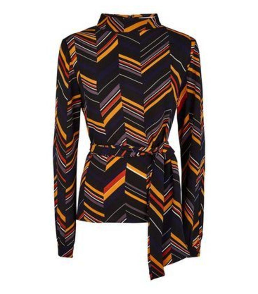 Apricot Black Spliced Stripe Tie Waist Top New Look