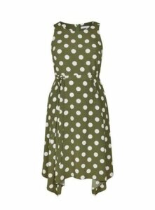 Khaki Spot Hanky Hem Dress, Green