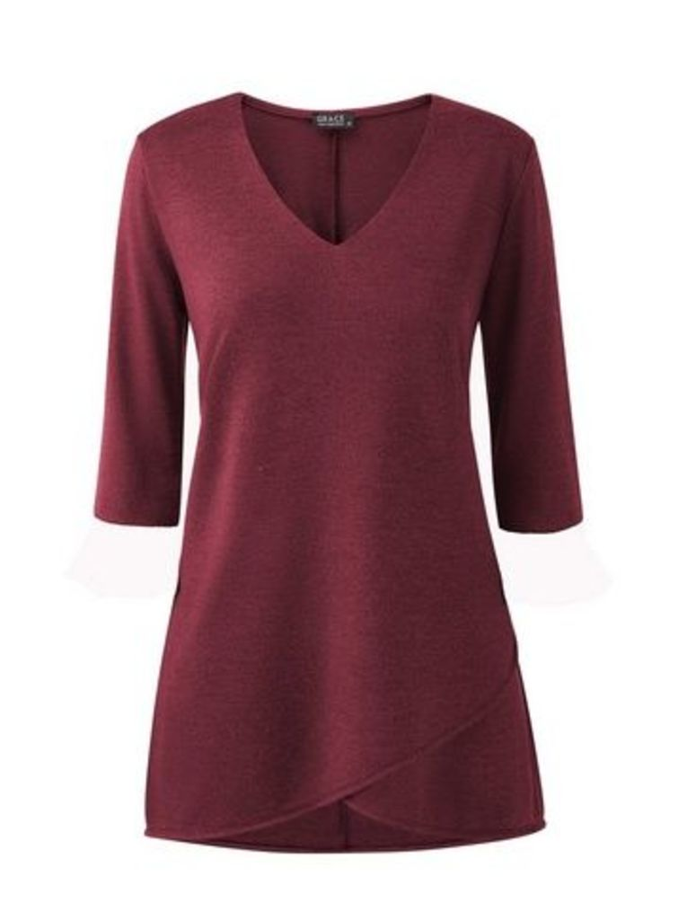 **Grace Berry Red Tulip Hem Tunic Top, Red