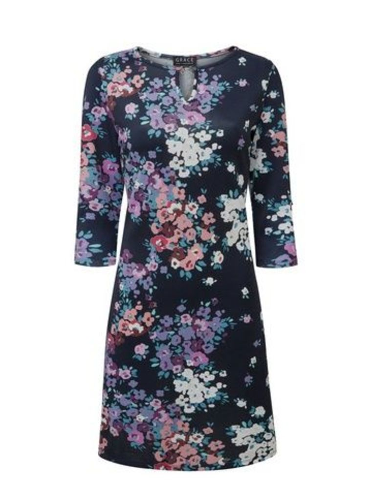 **Grace Navy Blue Floral Keyhole Detail Dress, Navy