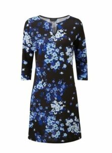 **Grace Black & Blue Keyhole Detail Dress, Black