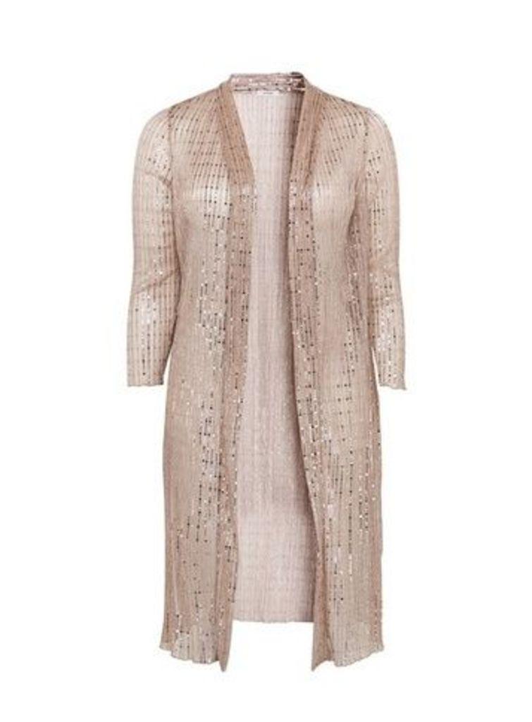 Blush Sequin Longline Kimono, Pink