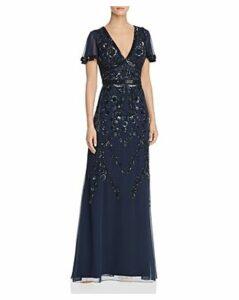Aidan Mattox Embellished Flutter-Sleeve Gown