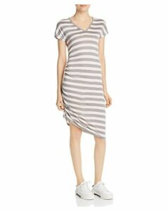 Kenneth Cole Striped Side Ruched Dress