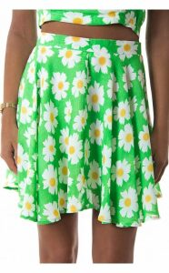 Daisy Duty Chiffon Skater Skirt In Green