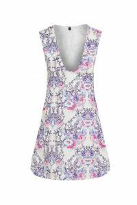 Floral Bird Print Smock Dress