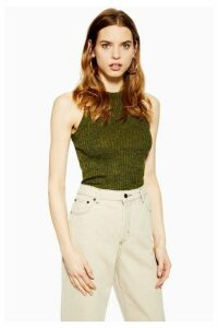 Womens Knitted Tank Top - Green, Green
