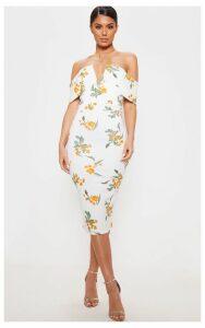 White Printed Plunge Bardot Midi Dress, White
