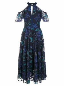 Marchesa Notte floral cold shoulder dress - Blue