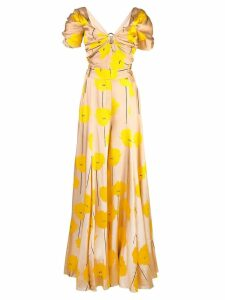 Carolina Herrera flower print maxi dress - Yellow