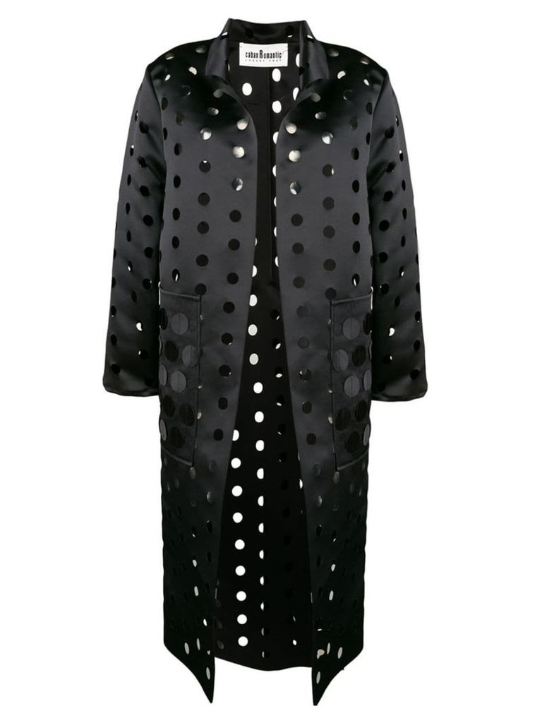 Caban Romantic cut polka dot coat - Black
