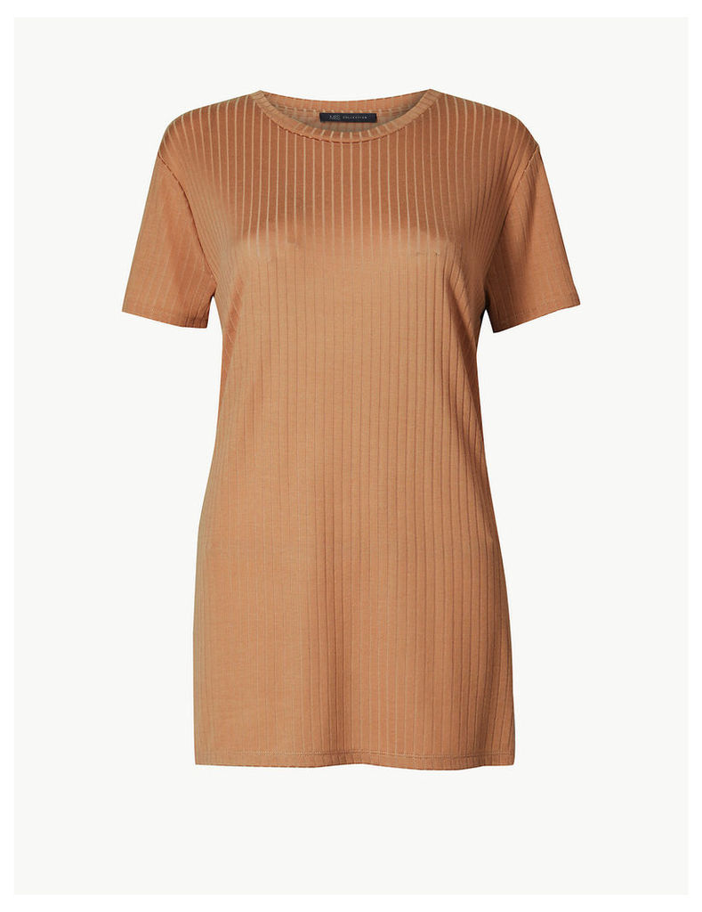 M&S Collection Textured Longline Short Sleeve Tunic