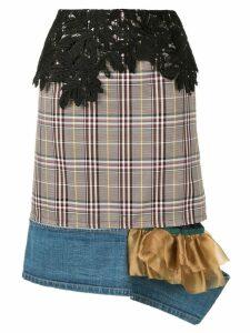 Kolor plaid straight fit skirt - Multicolour